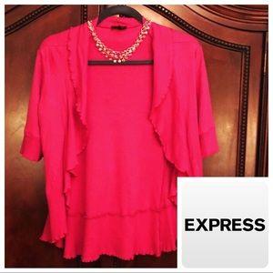 Express S Open Flutter 3/4 Cardigan Pink Flirty